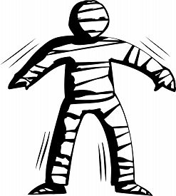 picture of stiff  - Outline cartoon of stiff mummy trying to walk - JPG
