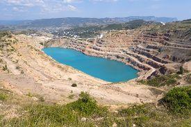 pic of open-pit mine  - Open pit mine in Balaklava near Sevastopol city - JPG