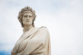 stock photo of alighieri  - Statue of Dante Alighieri in Florence Italy - JPG