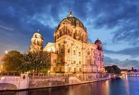 pic of dom  - Berliner dom Berlin cathedral at night Germany - JPG