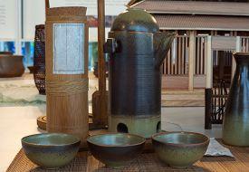 image of raku  - View of oriental ceramic bowls on the table - JPG