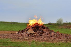 foto of combustion  - Combustion gas in the nature - JPG