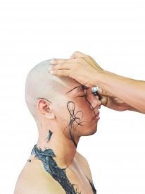 foto of shaved head  - Shaving young man - JPG