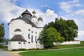 stock photo of scourge  - Picture of pilgrimage church Maria Birnbaum in Germany Bavaria - JPG