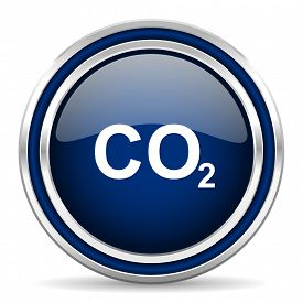 picture of carbon-dioxide  - carbon dioxide blue glossy web icon modern computer design with double metallic silver border on white background with shadow for web and mobile app round internet button for business usage   - JPG
