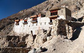 foto of karakoram  - Ruins of royal palace in Tiger or Tiggur village in Nubra valley Ladakh Jammu and Kashmir India  - JPG