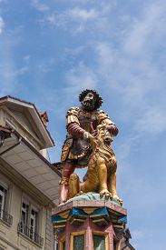 stock photo of samson  - slaying the lion 16th century traditional colourful fountains  - JPG