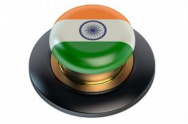 picture of indian flag  - Button with Indian flag isolated on white background - JPG