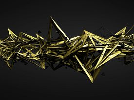 picture of pyramid shape  - Abstract 3d rendering of chaotic structure - JPG