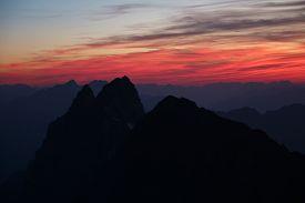 stock photo of nightfall  - Nightfall in central Switzerland - JPG