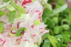 stock photo of grated radish  - Grated radish chopped chives and fresh cottage cheese - JPG