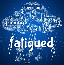 pic of fatigue  - Fatigued Word Representing Lack Of Energy And Sluggish Words - JPG