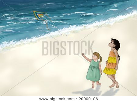 girls playing with kite on a beach