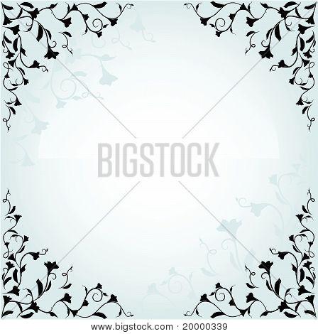 Fleurs avec des branches bouclés sur fond blanc