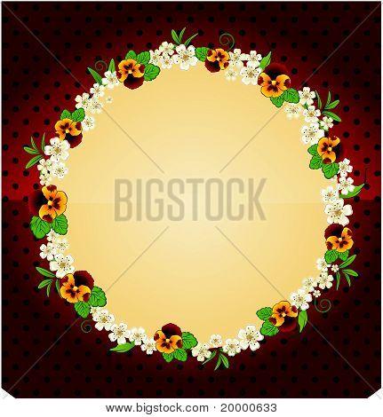 Fleurs sur le fond d'un cadre décoratif pour texte