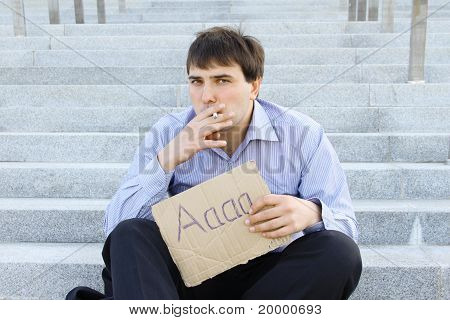 Homme d'affaires fume