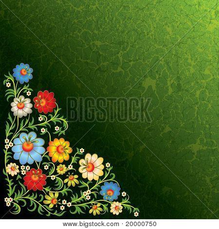 Abstrait ornement Floral avec fleurs sur fond Grunge