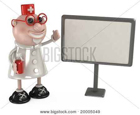 comic doctor in the red glasses