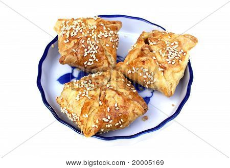 Three Puff Pastry Pie On The Plate