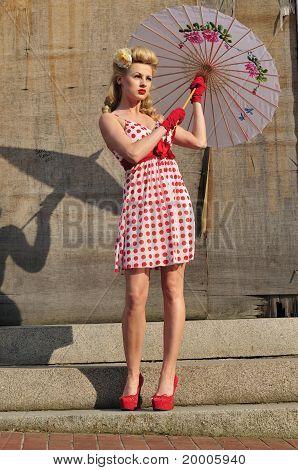 1940's Starlet With Umbrella