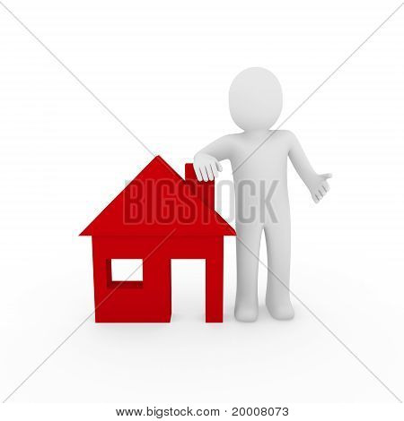 3D Man House Red