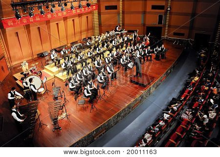 student symphonic band of High School No.7 Chengdu perform on concert