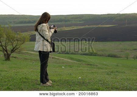 Female making a photo