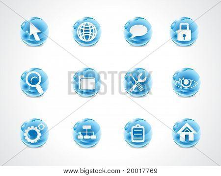 Abstract Blue Shiny Web Icon Set