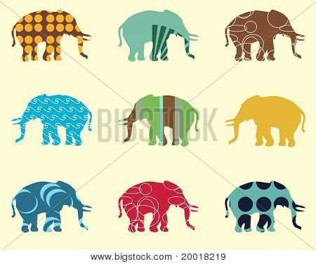 Seamless pattern with elephant