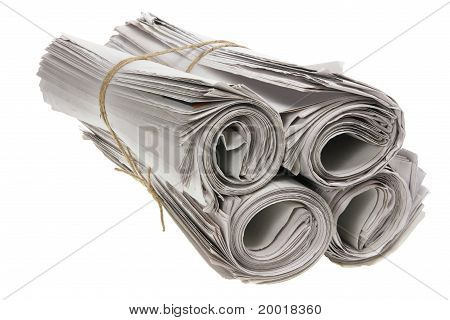 Bundle of Rolled Up Newspapers