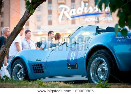 retro car on exhibition parking