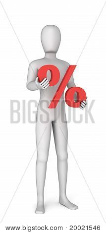 3D Man Holding In Hands Red Percentage