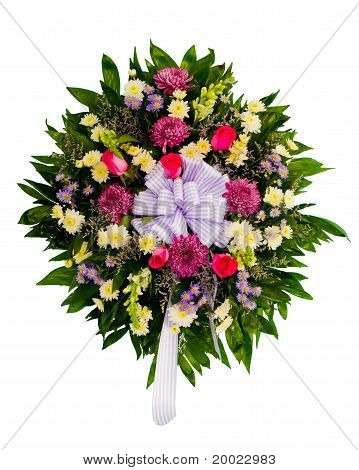 Colorful flower wreath isolated on white