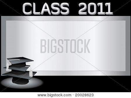 Graduation invitation card with mortars
