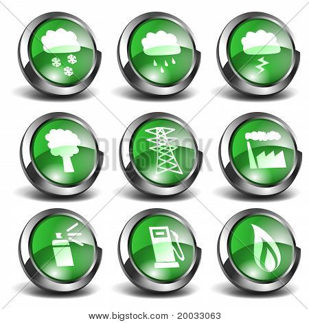 3d Green Icons Set 03