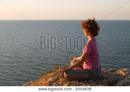 Girl Meditating In Padmasana Pose