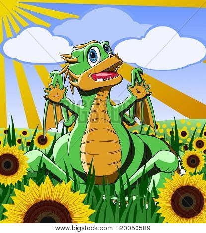 Dinosaur In The Field Of Sunflowers.eps