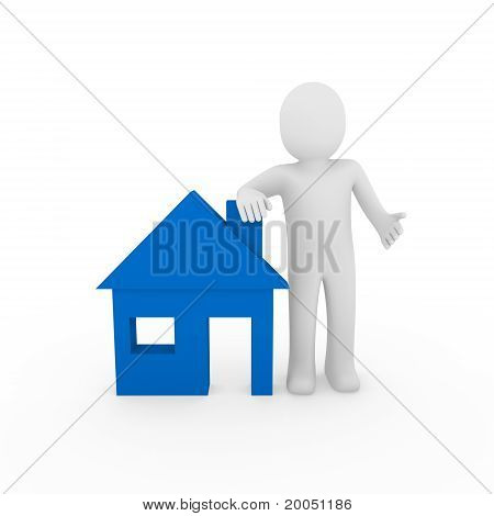 3D Man House Blue