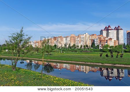 Belarus Minsk Nice View Of A New  Uruchie Micro-district Architectural Complex And Recreation Zone