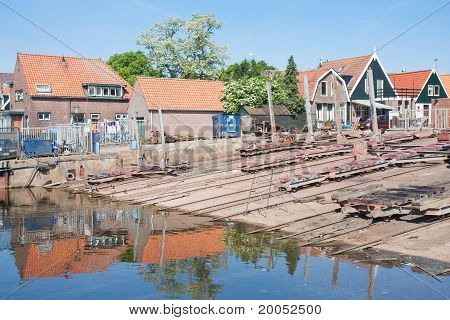 Old Shipyard In Urk, A Fishing Village In The Netherlands