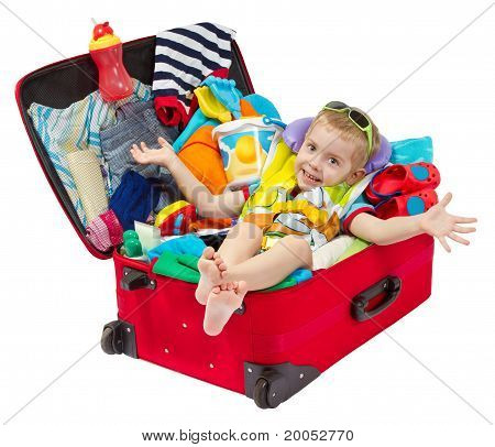 Little Kid In Travel Suitcase Packed For Vacation