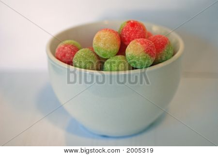 White Bowl Of Boiled Sweets