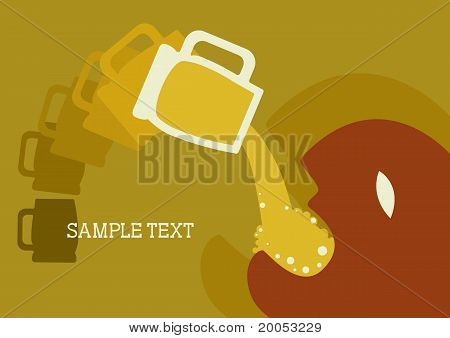 Man And Beer.vector Poster