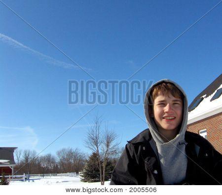 Boy In Winter Scene