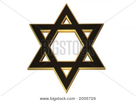 3D Gold And Black Jewish Star Of David
