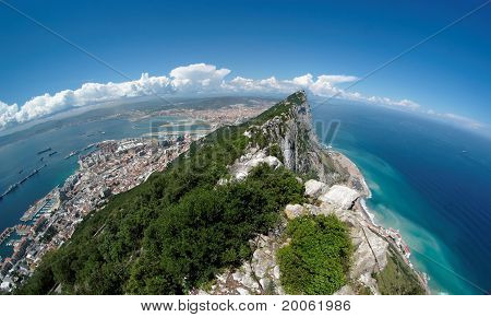Fisheye view of Gibraltar rock bay and town from the Upper Rock