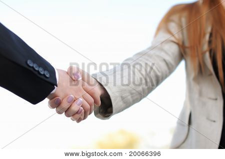 shaking hands on a light background