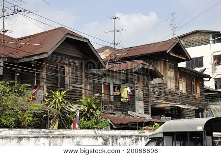 Old House Wood Many Thailand Brown