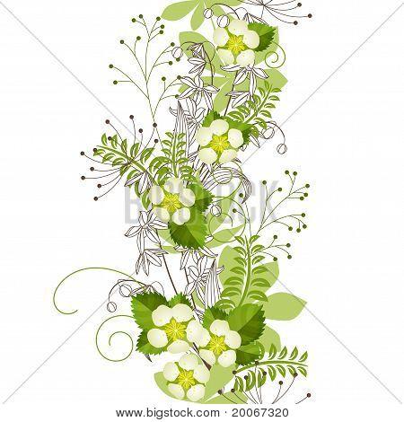 Seamless vertical floral pastel pattern