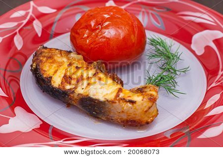 Prepared Sterlet With Tomatoes